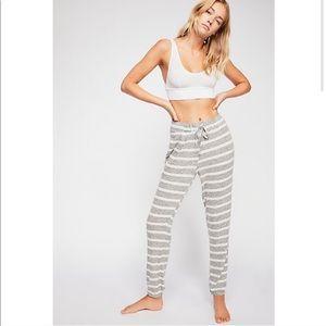 Free People Striped Gray Soft Jogger Sweatpants
